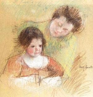 Mary Cassatt - Reine Leaning Over Margots Shoulder