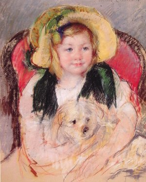 Sara With Her Dog  In An Armchair  Wearing A Bonnet With A Plum Ornament