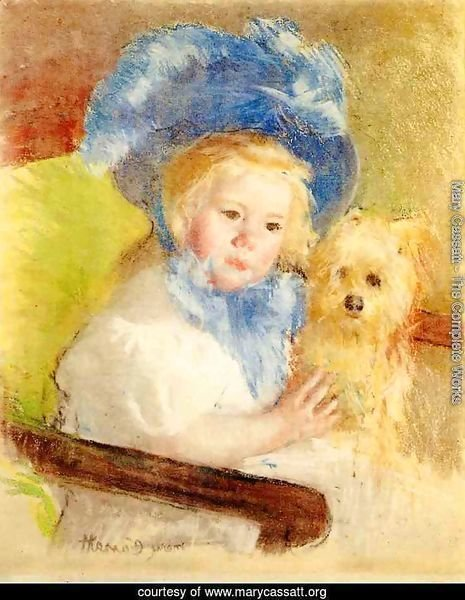 Simone In A Large Plumed Hat  Seated  Holding A Griffon Dog