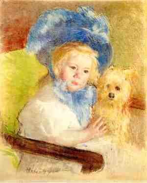 Mary Cassatt - Simone In A Large Plumed Hat  Seated  Holding A Griffon Dog