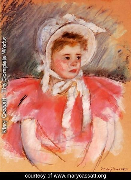 Mary Cassatt - Simone In White Bonnet Seated With Clasped Hands