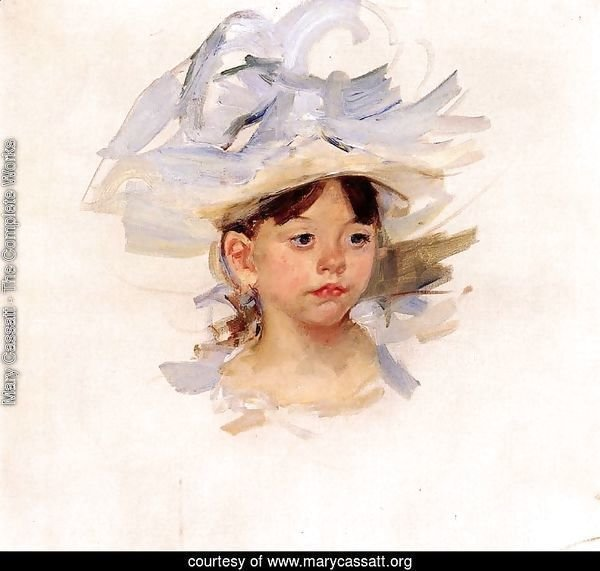 Sketch Of Ellen Mary Cassatt In A Big Blue Hat