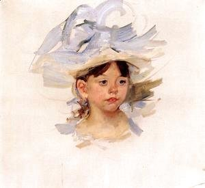 Mary Cassatt - Sketch Of Ellen Mary Cassatt In A Big Blue Hat
