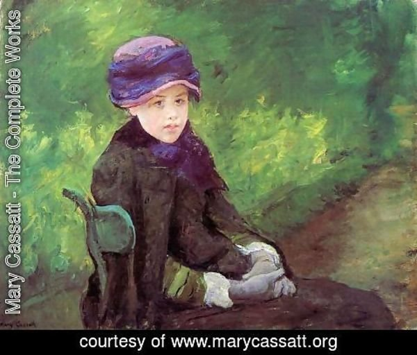 Mary Cassatt - Susan Seated Outdoors Wearing A Purple Hat