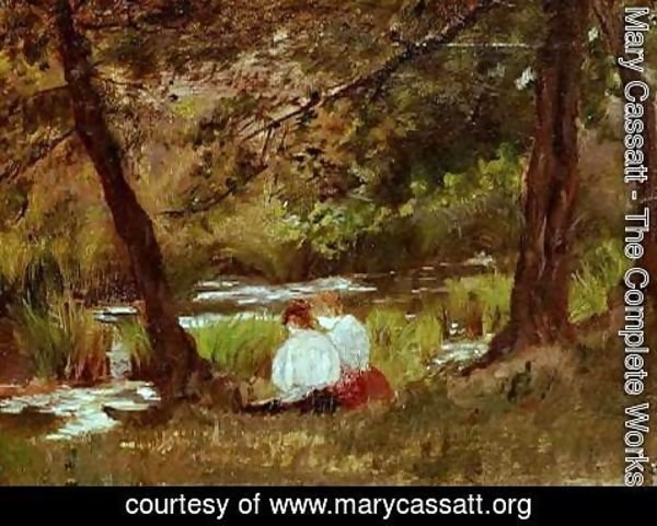 Mary Cassatt - Two Women Seated By A Woodland Stream