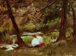 Two Women Seated By A Woodland Stream