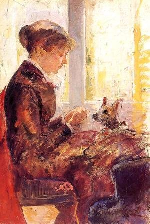 Mary Cassatt - Woman By A Window Feeding Her Dog