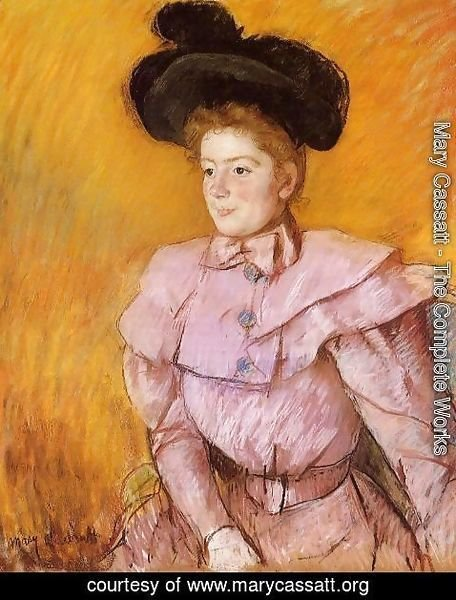Mary Cassatt - Woman In A Black Hat And A Raspberry Pink Costume