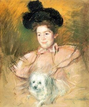 Mary Cassatt - Woman In Raspberry Costume Holding A Dog