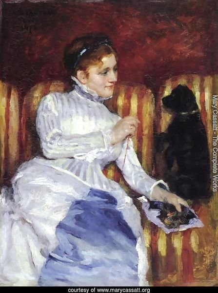 Woman On A Striped With A Dog Aka Young Woman On A Striped Sofa With Her Dog