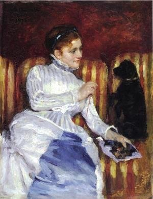 Mary Cassatt - Woman On A Striped With A Dog Aka Young Woman On A Striped Sofa With Her Dog
