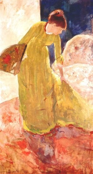 Mary Cassatt - Woman Standing  Holding A Fan