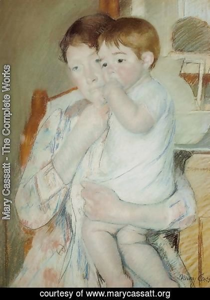 Mary Cassatt - Mother and Child Against a Green Background or Maternity